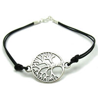 Sterling Silver Bracelet Tree Of Life Solid 925 With Black Leather Handmade