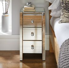 MURANO Mirrored Mirror Bedside Bed Side Table Cabinet 3 Drawer Bedroom Cabinet
