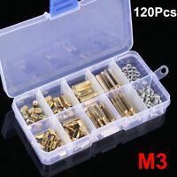 120pc Male Female M3 Brass Standoff Spacer PCB Board Screws Nut Assortment