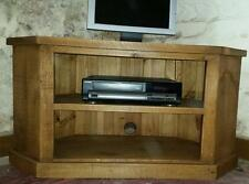 SOLID REAL WOOD CORNER TV UNIT CABINET STAND CHUNKY RUSTIC PLANK PINE FURNITURE