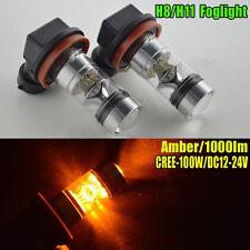 2PC H8 H11 Amber Yellow 100W LED Fog Light Bulb Replace Driving AC12-24V 1000LM