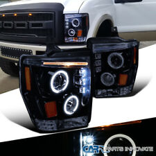 Glossy Black 08-10 F250 F350 F450 Super Duty Pickup LED Projector Headlights