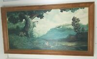 "Vintage Duane R Probus Lazy Summer Days Wood Framed Print 48"" x 24"""