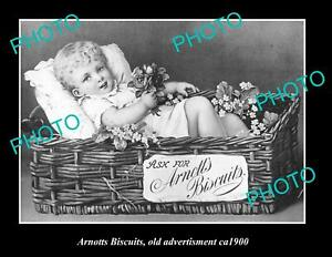 OLD LARGE HISTORIC PHOTO OF ARNOTTS BISCUITS ADVERTISING, ca 1900