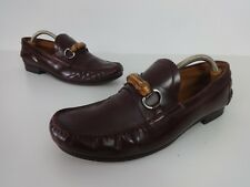 Mens Gucci Shoes Size 10 Designer Loafers Brown Bamboo Horsebit Detail Leather