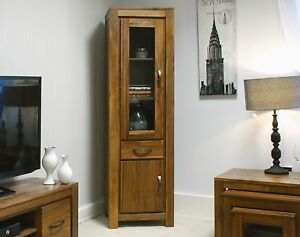 Mayan glazed narrow bookcase display cabinet solid walnut dark wood furniture