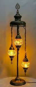 Turkish Moroccan Mosaic Floor Lamp Table Desk Lamp 3 Crushed Glass Globe 105cm