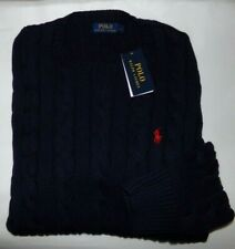 NWT MENS POLO RALPH LAUREN L/S CABLE KNIT SWEATER~NAVY~MED