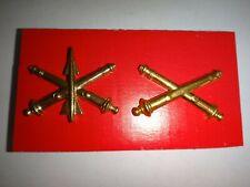2 US Army Corps Brass Tone Metal Badges: AIR DEFENSE ARTILLERY + FIELD ARTILLERY