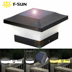 Outdoor LED Solar Powered Deck Post Light Garden Cap Square Landscape Fence Lamp