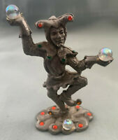 """1998 SunGlo Pewter COURT JESTER Figure Figurine with """"Gems""""/""""Crystals"""" VERY NICE"""