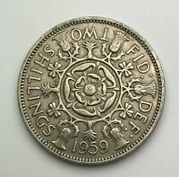 Dated : 1959 - One Florin - 2 Shillings Coin - Queen Elizabeth II Great Britain