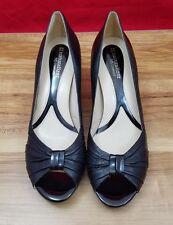 Naturalizer N5 Comfort Berrie Black Leather Open Toe Block Heel Pumps Womens 10M