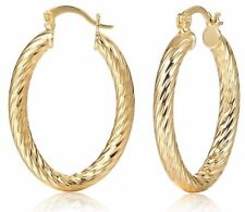 Preciosa 4cm Oro Tono Tallado en facetas con patrones pequeña campana Criolla Aro Pendientes
