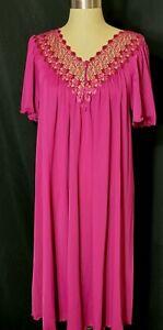 Shadowline Gown Pink Burgundy Size Medium Crochet Lace V Neck Flutter Sleeves