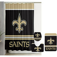 New Orleans Saints Bathroom Rug Set 4PCS Shower Curtain Toilet Seat Cover Gifts