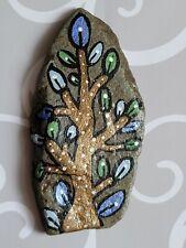 Hand Painted River Rock Stone Leaf Tree Whimsical ORIGINAL Small Folk Art