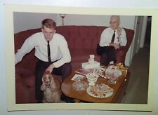 Vintage 60s PHOTO CUTE DOG WITH RED BOW ON HEAD FATHER & SON ON COUCH EAT PASTRY