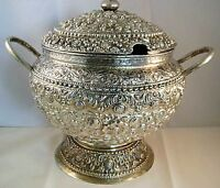 Sterling Silver Hammered Chased Repousse Covered Soup Tureen /Punch Bowl