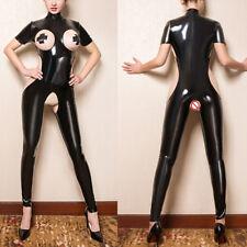 Women Wet Look Shiny Faux Leather Open Bra Bodysuit Crothless Jumpsuit Nightwear