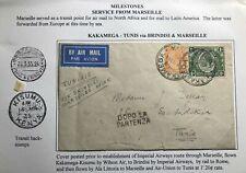 1935 Kakamega Kenya Early Airmail Cover FFC To Tunis Tunisia Via Marseille