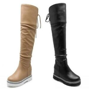 Warm Womens Round Toe Hidden Wedge Heel Casual Over the Knee High Boots 34/43 D