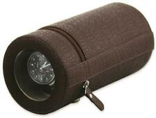 Rotations Brown Croco-Style Texture Faux Leather Travel Watch Winder