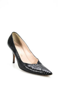 Gianni Milanesi  Womens Pointed Toe Leather Pumps Black Size 36.5 6.5