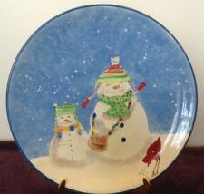 Snowman SNOWFOLKS Dinner Plate Oneida Snow Blue White Winter Red Bird RARE MC
