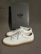 UGG BROCK LUXE WHITE LEATHER WATERPROOF LACE SNEAKERS SHOES Size 15- White