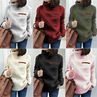 Womens High Neck Teddy Bear Fleece Sweater Jumper Winter Coat Pullover Tops UK