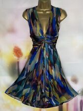 TED BAKER 'KRAZ' FIT & FLARE MULTICOLOUR LAYERED SKIRT PRETTY DRESS SIZE 3 UK 12