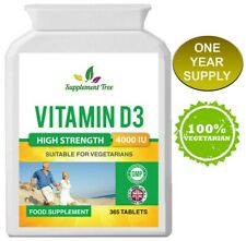 Vitamin D3 4000IU (365 Vegetarian Tablets) High Strength Vit D Cholecalciferol