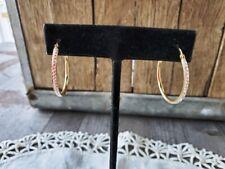 Gorgeous Jordan Mom Gold Plated Sterling Silver & CZ Hoop Earrings