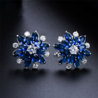 Bling 925 Sliver Blue & White Sapphire Snowflake Stud Earrings Wedding Jewelry