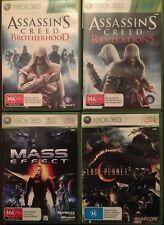 4 Xbox 360 Games Assassins Creed Revelations Brotherhood Lost Planet Mass Effect