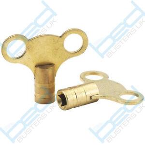 Radiator Plumbing Bleed Bleeding Key Keys Solid Brass for Venting Air Valve x 2