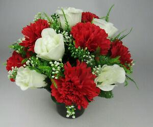 Artificial silk flowers memorial Crem Pot - Grave arrangement FREE P&P HandMade