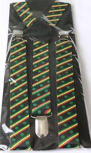Hosenträger Rasta Hanfblatt Y-Shape Suspender Weed Reggae  Party Karnveval