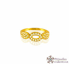 22ct 916 Indian Yellow Gold Ring with CZ Stones Size N1/2 SR3