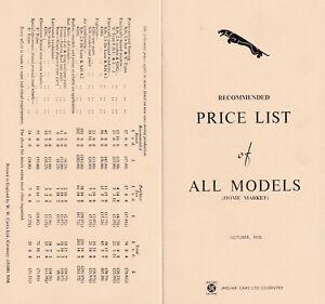 JAGUAR CARS LTD RECOMMENDED PRICE LIST OF ALL MODELS (HOME MARKET) OCTOBER 1970.