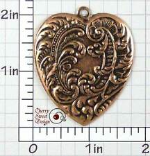 Ox Copper Plated Brass 1498co2 2 Ornate Heart Pendant Findings