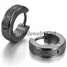 2-6pcs Men Women Classic Stainless Steel Matte Stud Huggie Hoop Earrings