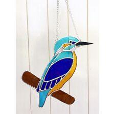 VETRO colorato Kingfisher Suncatcher Tecnica Tiffany regalo Bicchiere Blu fatto a mano
