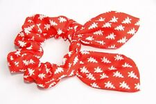 Bright Red & White Christmas Tree Print Festive Hair Scrunchie W Wire Bow s144c