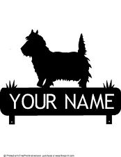 WESTIE MAILBOX TOPPER (YOUR  NAME) STEEL BLACK POWDER COAT FINISH