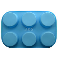 "D2.8"" Pudding Muffin Cup Cake Pastry Soap Wax Silicone Baking Mold Pan Tray 6Cav"
