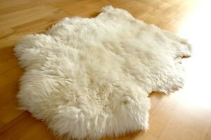 Brand New HUGE Large White Ivory Genuine Merino Sheep skin Fur Rug Carpet