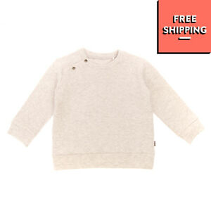IMPS&ELFS Sweatshirt Size 9-12M 74CM Grey Melange Effect Textured Popper Snap