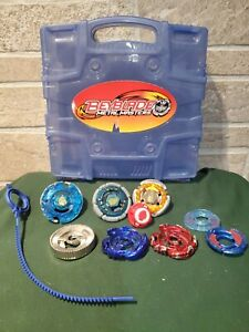 Beyblade Metal Masters Lot with Case 2010 Multiple Beys and Launcher EUC 10 pc
